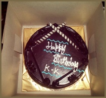 The delicious chocolate cake from Shailesh and Vishal.